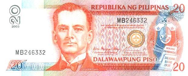 banknote 20 philippine peso obverse
